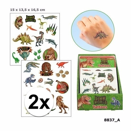 Dino World 2x Dinosaurus plak tattoos voor jongens Dino World Verkleedaccessoires