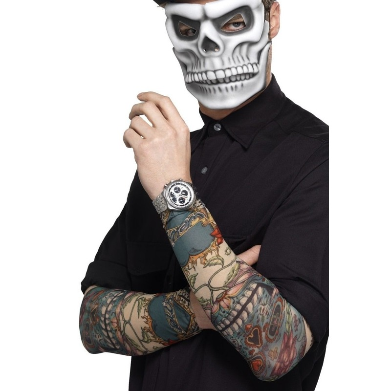 Verkleedaccessoires Smiffys 2x Tattoo sleeves Day of the Dead voor volwassenen