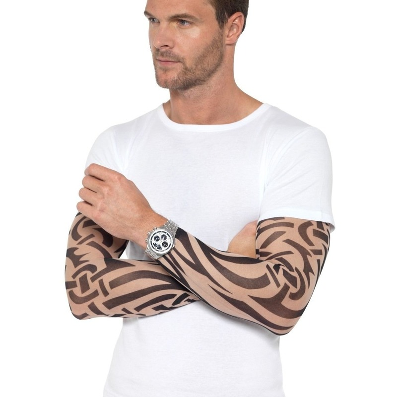 2x Tattoo sleeves tribal voor volwassenen Smiffys Verkleedaccessoires