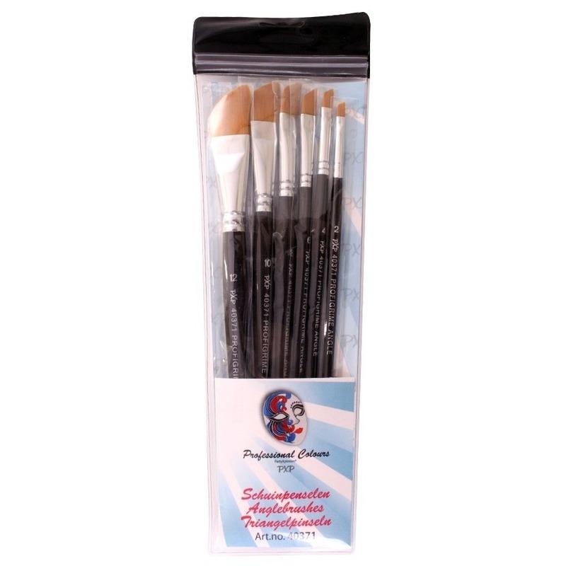 Verkleedaccessoires Geen 6 platte schuine schmink penselen set synthetisch