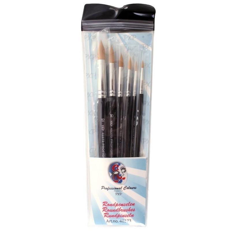 Verkleedaccessoires Geen 6 ronde schmink penselen set synthetisch
