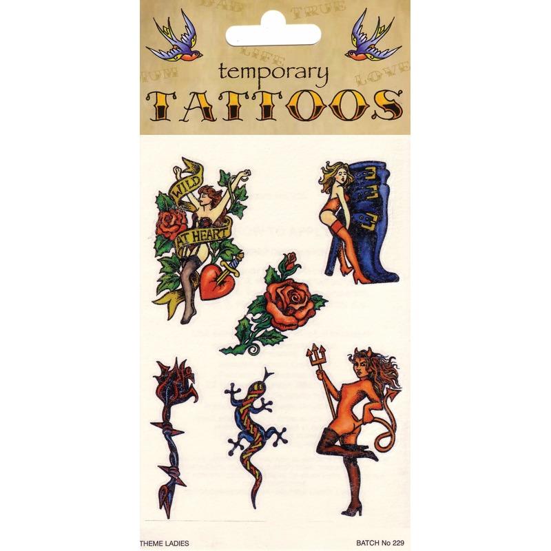 Verkleedaccessoires Biker tattoos 6 stuks