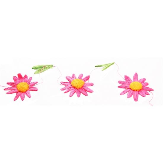 Decoratie madeliefjes slinger roze-oranje