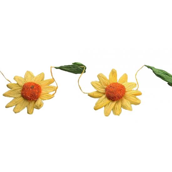 Decoratie zonnebloemen slinger geel-oranje