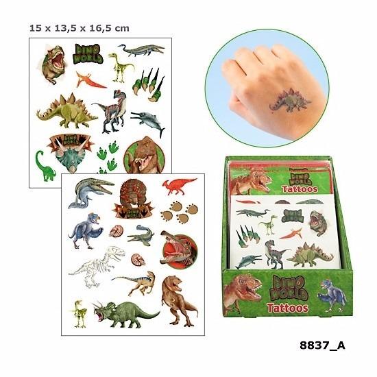 Verkleedaccessoires Dino World Dinosaurus plak tattoos voor jongens Dino World