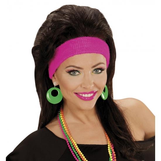Disco seventies verkleed oorbellen neon groen