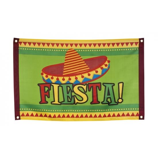 Fiesta vlag met Mexicaanse hoed