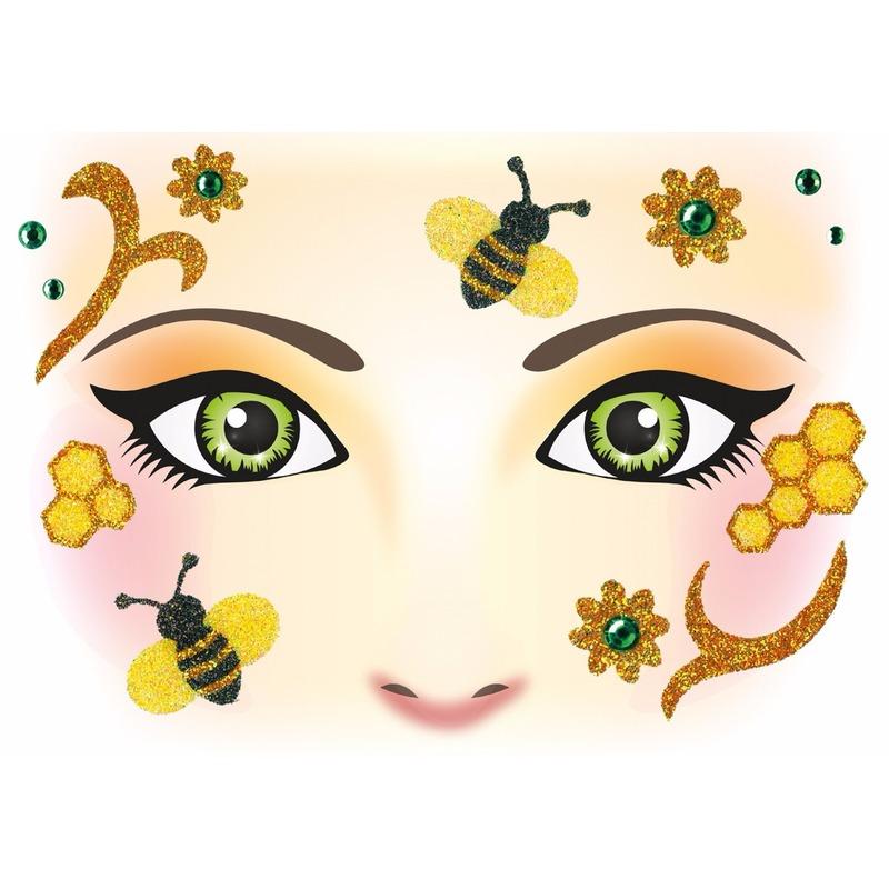 Verkleedaccessoires Geen Gezicht stickers bijen 1 vel