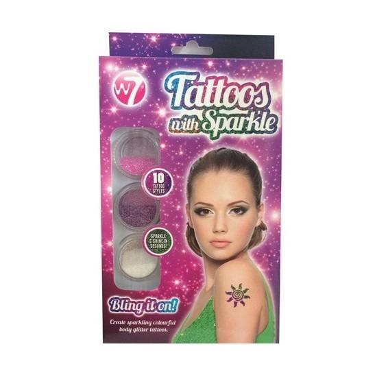 Verkleedaccessoires Glitter tattoo sjablonen set