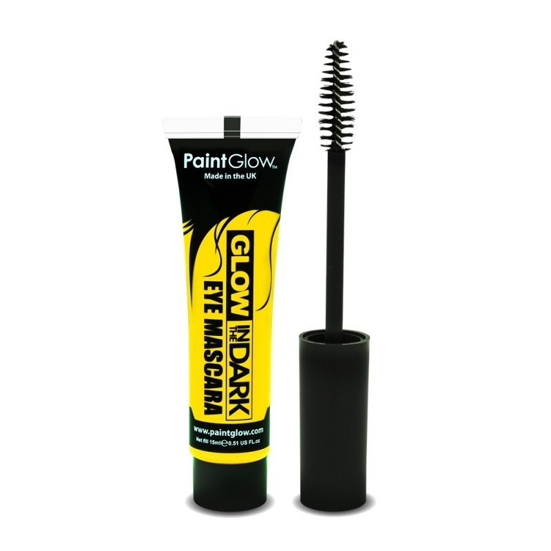 Verkleedaccessoires PaintGlow Glow in the dark mascara geel