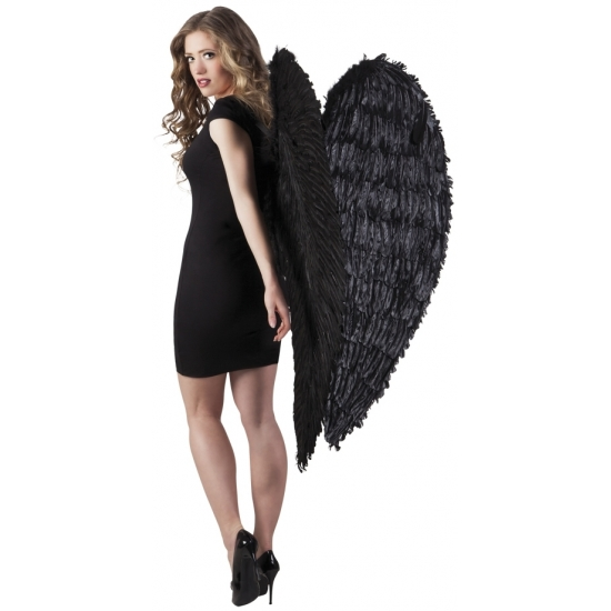 Grote engelen vleugels zwart 120 cm