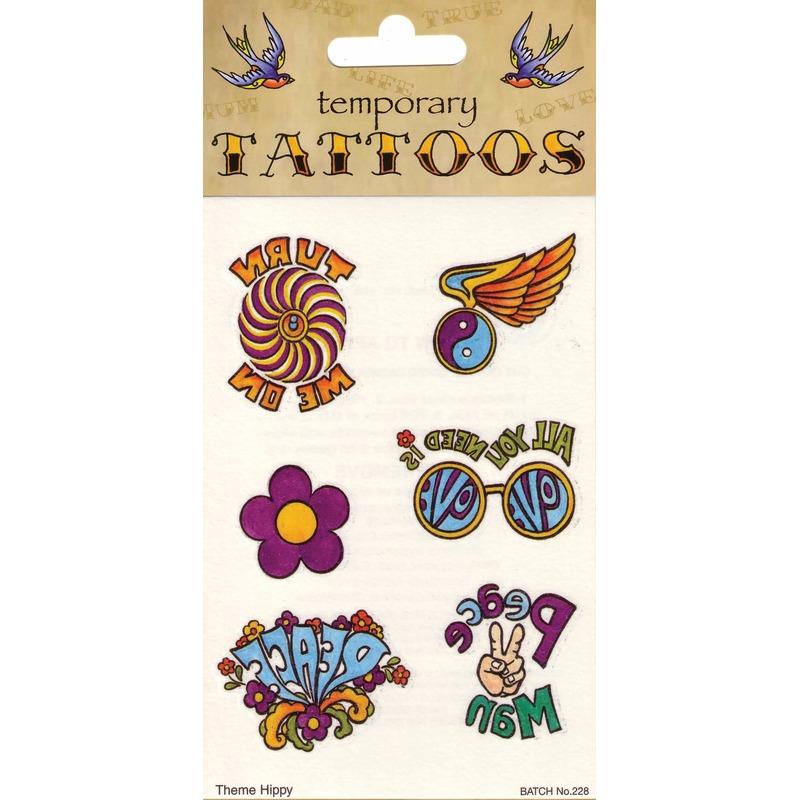 Geen Jaren 60 hippie tattoos 6 stuks Verkleedaccessoires