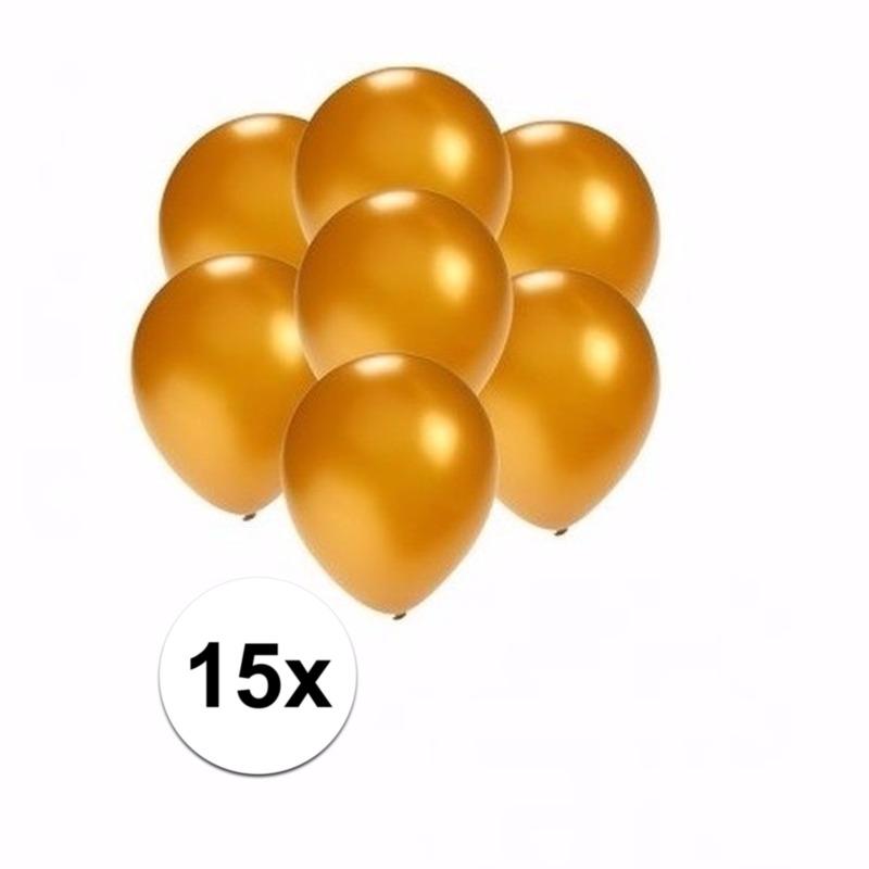 Kleine metallic gouden ballonnen 15 stuks
