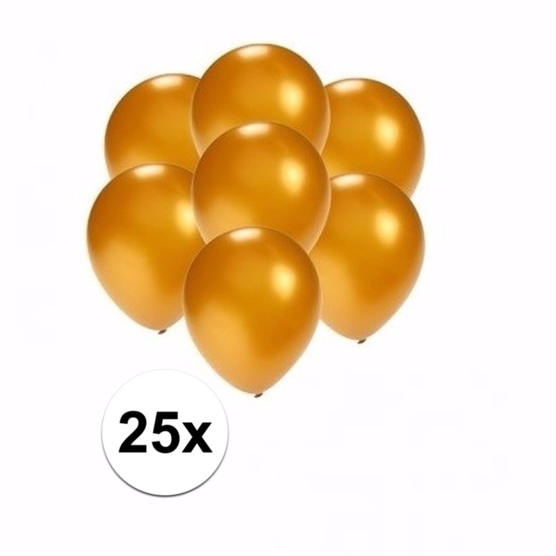 Kleine metallic gouden ballonnen 25 stuks