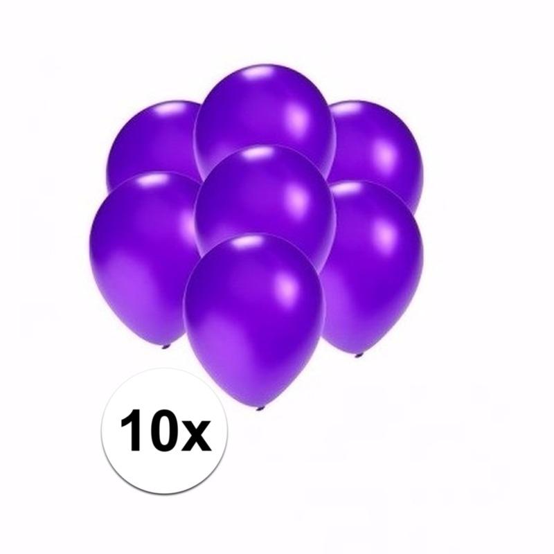 Kleine metallic paarse ballonnen 10 stuks