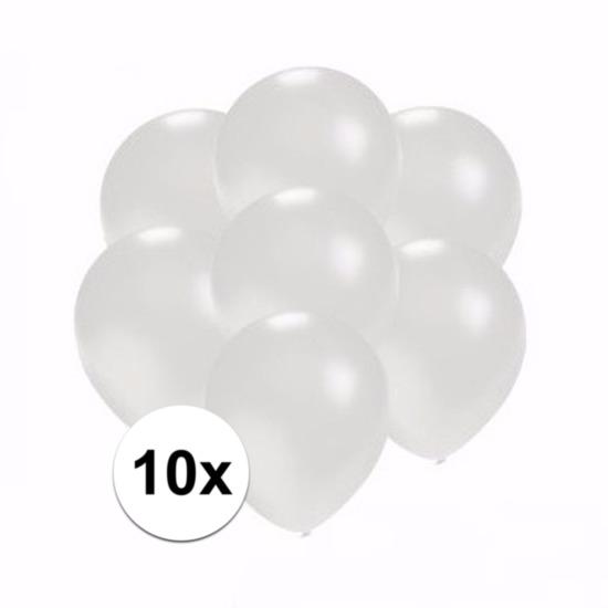 Kleine metallic witte ballonnen 10 stuks