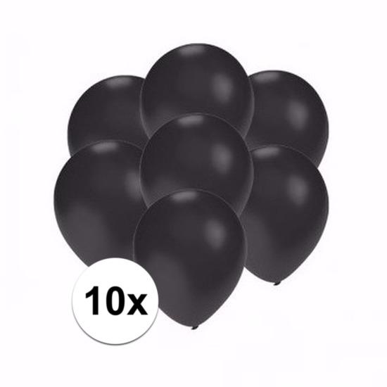 Kleine metallic zwarte ballonnen 10 stuks