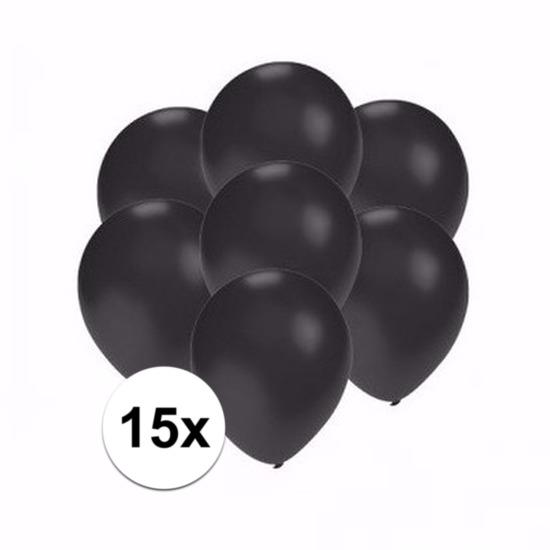 Kleine metallic zwarte ballonnen 15 stuks