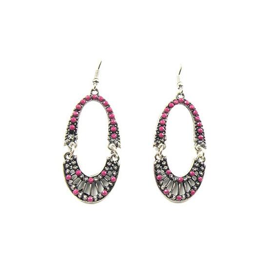 Kralen oorbellen grijs met roze