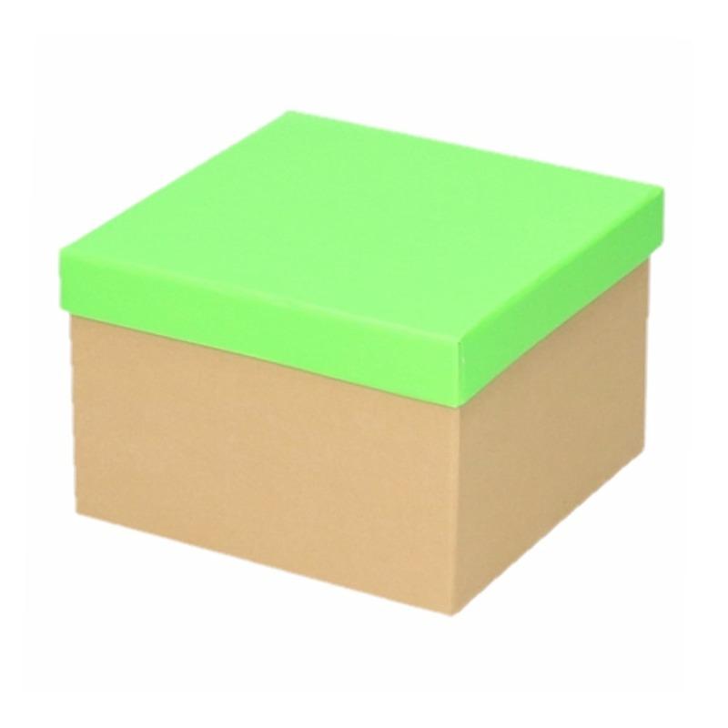 Neon groen cadeaudoosje 15 cm vierkant