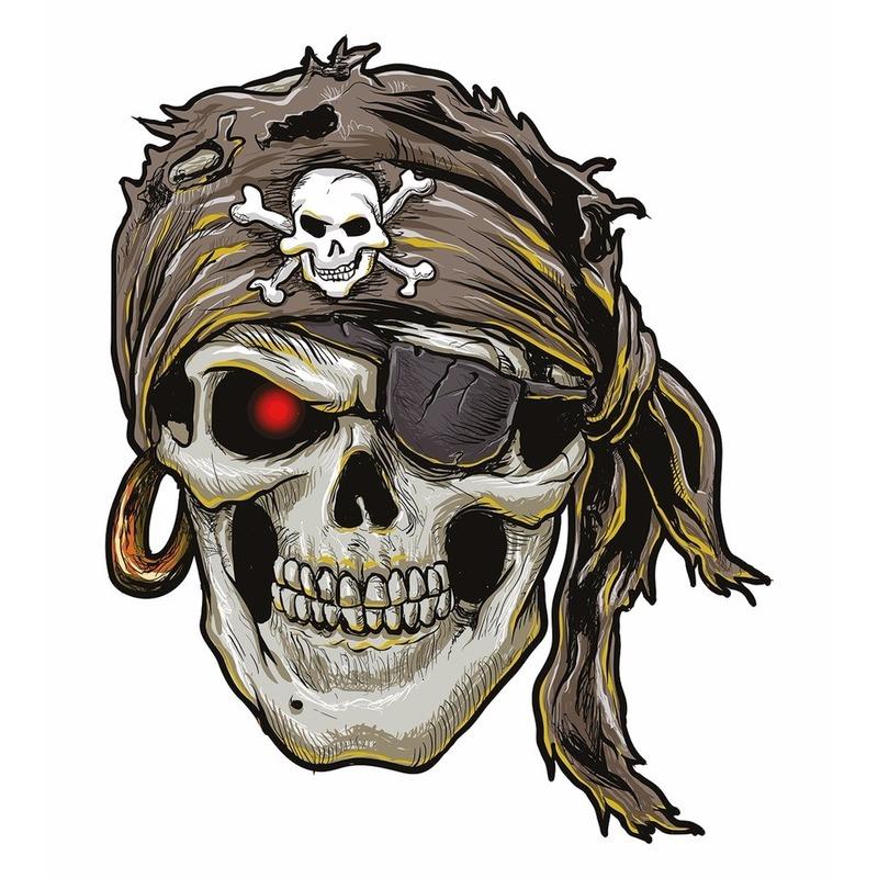 Verkleedaccessoires Geen Plak Tattoo piraten sticker XXL