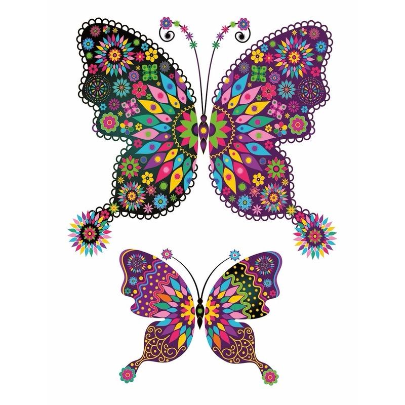 Plak Tattoo vlinder stickers XXL