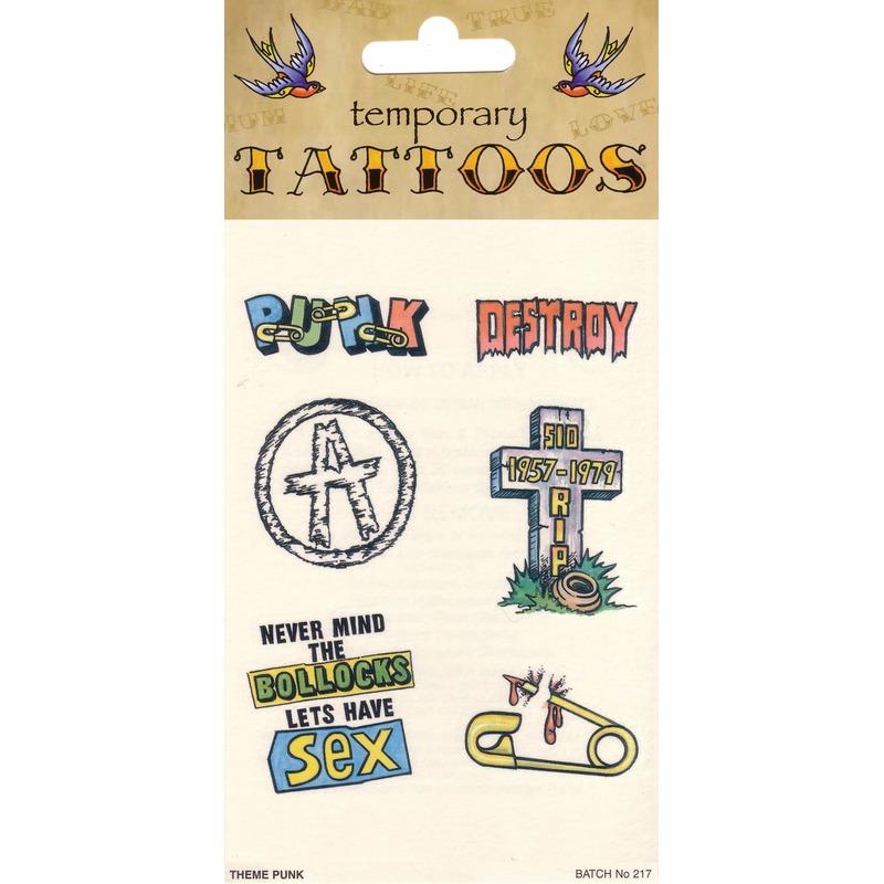 Verkleedaccessoires Punk tattoos 6 stuks