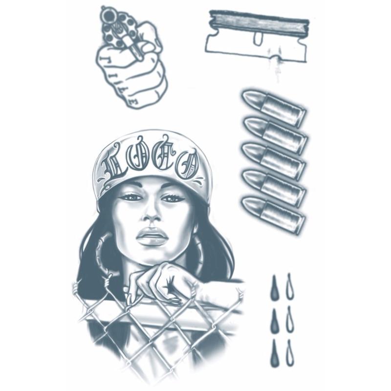 Verkleedaccessoires Geen Realistische crimineel tattoos 1 vel