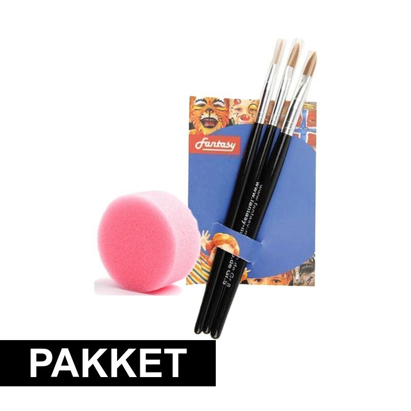 Verkleedaccessoires Shoppartners Schmink sponsje met 3 schmink penselen