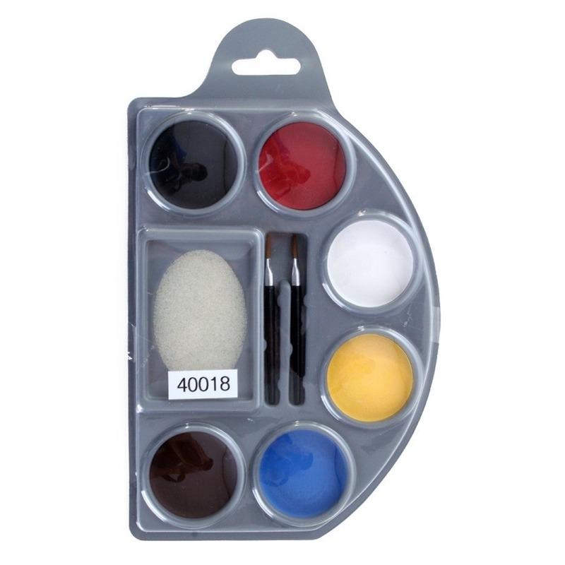 Verkleedaccessoires Geen Schminkpalet 6 kleuren met spons en kwastjes