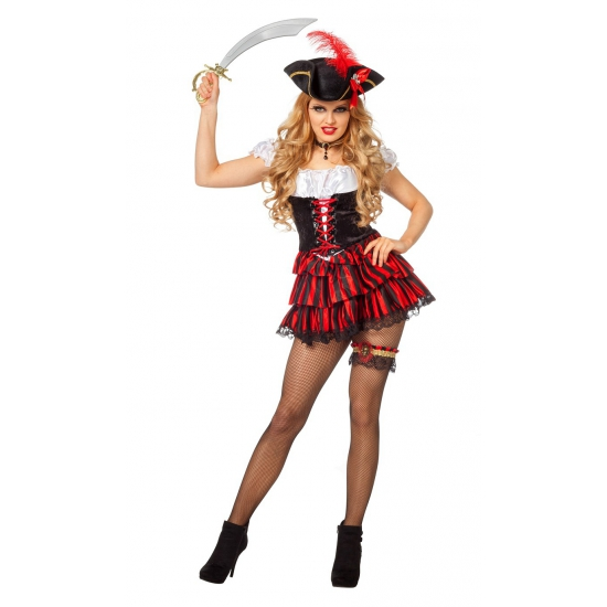 Zwart Met Rood Jurkje.Sexy Piraten Jurkje Zwart Met Rood In De Piraten Feestwinkel