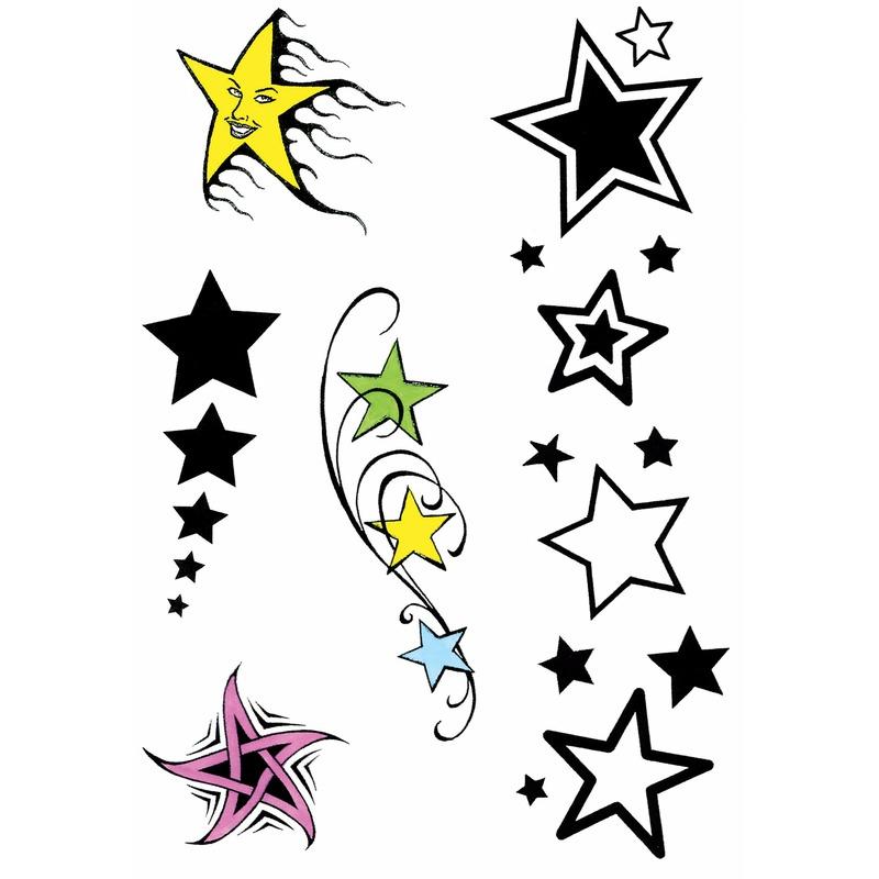 Sterren tattoos 5 stuks Geen Verkleedaccessoires