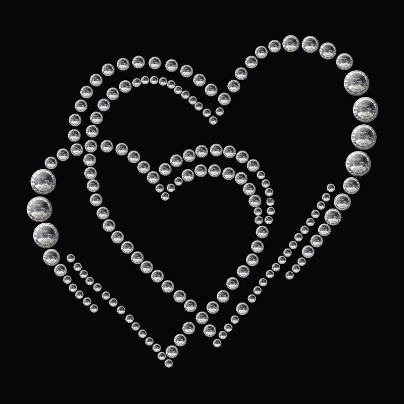Stickers strass dubbel hart