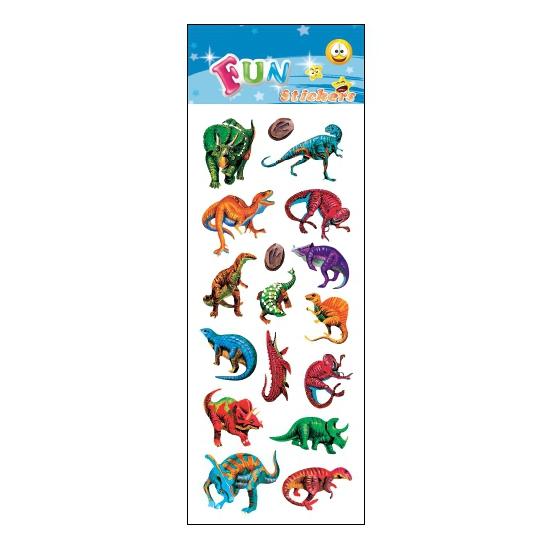 Stickervel dinosaurus gekleurd