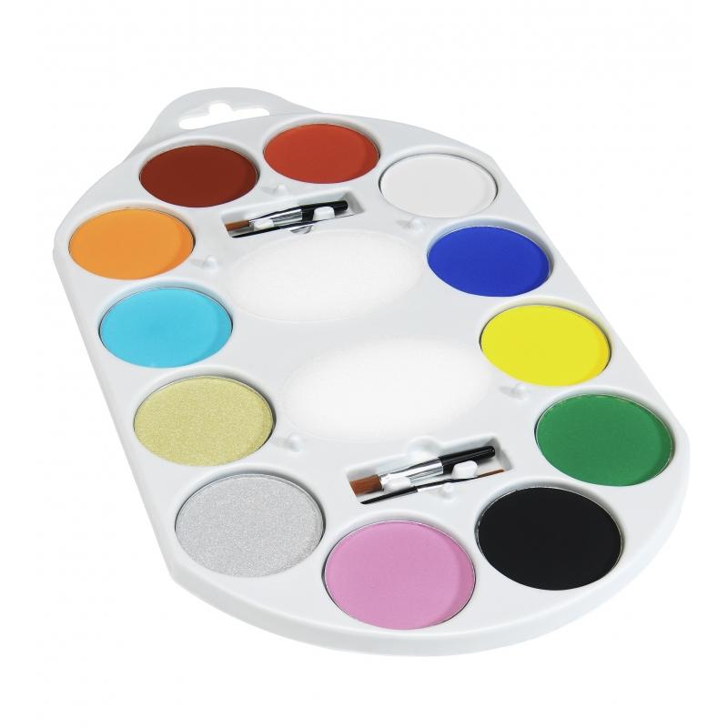 Verkleedaccessoires Smiffys Waterbasis schmink palet 12 kleuren